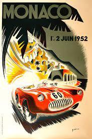 Cool vibrant orange and red gradient. Monaco Grand Prix Poster 1952 Won By Ferrari 225s Photograph By Retro Photography Archive
