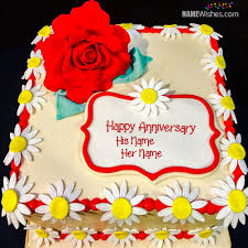 Rose Marriage Anniversary Cakes With Couple Names