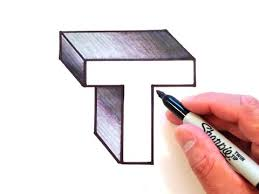 How to Draw the Letter <b>T</b> in <b>3D</b> - YouTube