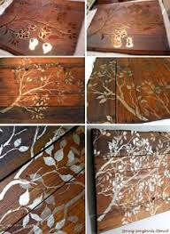 stenciling wood wall art could use metallic stencil glaze in gold or silver on a stained or natural woodpallet piece when done add a nail hangar kit to artistic wood pieces design