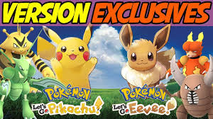 Version Exclusives for Pokemon Let's Go Pikachu! Pokemon Let's Go Eevee!  Discussion and Theory! - YouTube