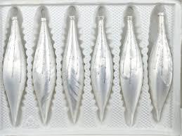 6 Tlg Glas Zapfen Set In Ice Weiss Silber Regen