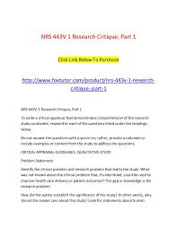 Research Problem Statement Examples Nrs 443v 1 Research Critique Part 1 Nrs 443v 1 Research