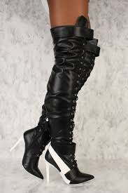 black front lace up pointy toe sneaker thigh high boots faux leather