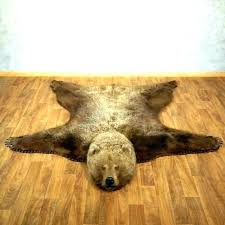 faux bear skin rug with head polar for grizzly