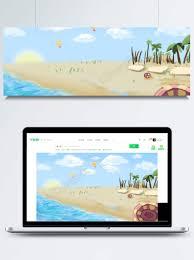 夏のビーチの新鮮なイラストの背景デザインpngと背景画像psdファイル