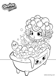 Shopkins Shoppies Coloring Pages Bubbleisha In Bath Free Printable