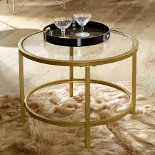round gold glass coffee table