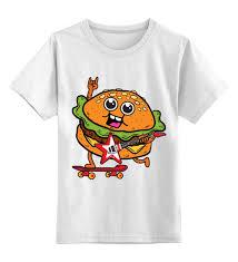 Детская футболка классическая унисекс <b>Гамбургер</b> с гитарой ...