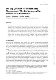 pdf the big question for performance management why do managers use performance information