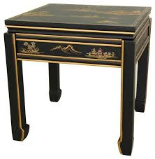 Black Lacquer Square Ming Table Traditional Side Tables And