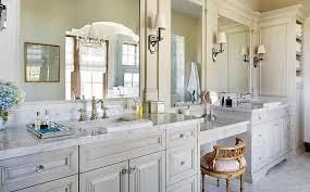 gray bathroom vanity with french pink seat stool master bath vanity o30