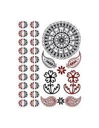 Mandala Kytičky A Další červenočerné Motivy Henna Nalepovací Tetování
