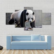 panda moving on rotten leaves canvas panel painting tiaracle on panda canvas wall art with panda moving on rotten leaves multi panel canvas wall art tiaracle