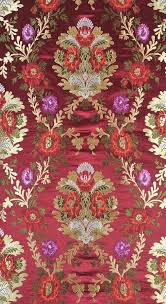 Floral Brocade Cordovan Floral Brocade Fabric From Banaras With Golden Zari Weave