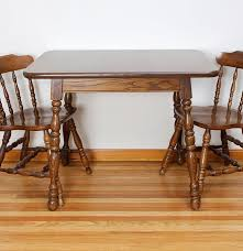 Early American Style Oak Dining Table With Two Chairs  EBTH - Early american dining room furniture