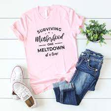 Ac Designs Clothing Surviving Motherhood One Meltdown At A Time Pink T Shirt
