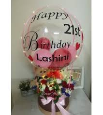 bl46 flower mix chocolate with bear balloon box with led