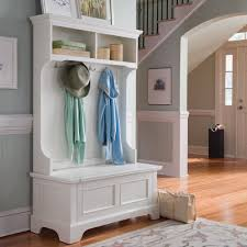 white wooden hall tree storage bench with hutch and four hooks for home  furniture ideas