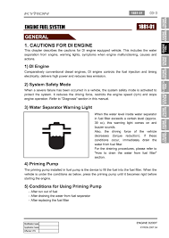 Water Separator Warning Light Engine Fuel System 01 1 Cautions For Di Engine