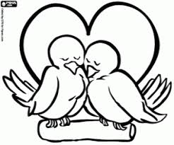 Kleurplaat Symbool Van Het Huwelijk Met Twee Vogels Kleurplaten