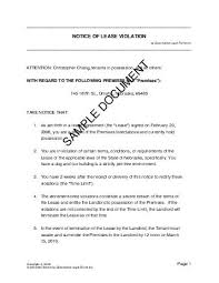 Lease Violation Form Notice Of Lease Violation South Africa Legal Templates