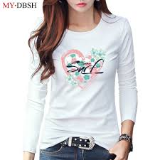 Heart Shape Design T Shirts Us 7 99 49 Off Fashion Heart Shape Design Flower Printed Women T Shirts Hipster Harajuku Korean Style Cotton Tops Tees Casual Female Tshirts In
