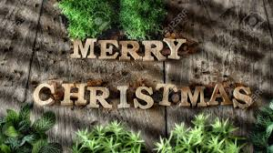 Word Of Nature Word Of Merry Christmas With Plant On Wooden Background Nature