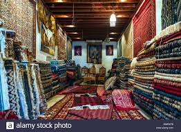 North Africa Tunisia Tunis Carpets shop Stock Royalty