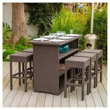 milton 7pc wicker patio bar set brown christopher
