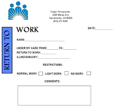 Doctors Note For Work Urgent Care Doctors Note Template Inspirational Return To Work Kaiser