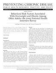 PDF) Behavioral Risk Factors Associated With Overweight and Obesity Among  Older Adults: the 2005 National Health Interview Survey