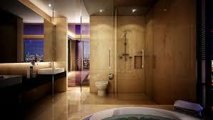 modern master bathrooms. Bathroom:Charming Modern Master Bathroom Design Ideas For Apartment With Cream Marble Wall Plus Clear Bathrooms