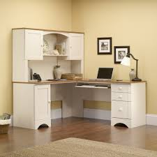 white corner desk with hutch. Delighful White Corner Computer LShaped Desk With White Hutch U