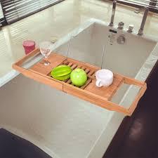 costway bamboo bathtub rack caddy shower book tray shelf wine holder w extending sides 1