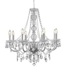 clear 8 light chandelier with crystal drops