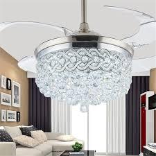 ceiling fan 100 265v 42inch led chrome crystal ceiling light living room folding ceiling fan