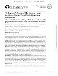 pdf it depends reasons why nursing home residents change their minds about care preferences