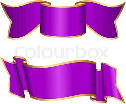 Purple Ribbon Banner Purple Ribbon Collection Stock Vector Colourbox