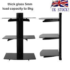 glass tv wall mount bracket 3 shelves shelf for dvd sky box game console led dt 1 of 12free