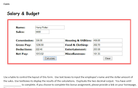 Pay Deduction Calculator Solved Javascript Salary And Budget Create A Form That Wi