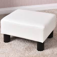 small ottoman stool. Costway Small Ottoman Footrest PU Leather Footstool Rectangular Seat Stool White A