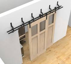 bypass sliding barn wood door hardware black rustick barn sliding track kit in home garden