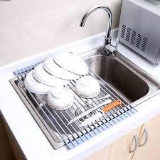 kitchen sink dish rack insert countertop storage organizer tray stainless steel shelves in sink dish
