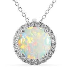 halo round opal diamond pendant necklace 14k white gold 2 09ct ad4996