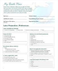 Home Birth Plan Worksheet Birth Preferences Template Sample Birth Plans Templates Plan