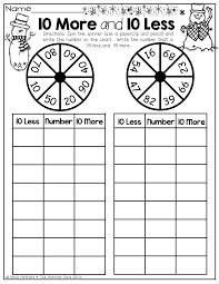 Spinner Chart 0 More And 10 Less Spin The Spinner With A Pencil And Paper