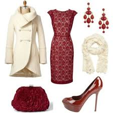 Lovely ensemble for a Christmas Party. Love the dress, bag, shoes, coat and  everything! Gorgeous colors for Christmas.