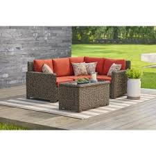 hampton bay laa point 5 piece brown all weather wicker outdoor sectional set with quarry red cushions