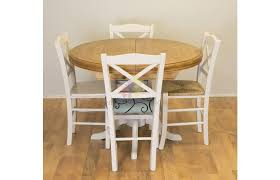 solid pine painted round extending table set with 4 chairs perfect for the dining room furniture4yourhome